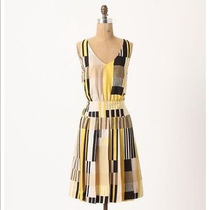 Anthropologie Maeve Otta Silk stripe yellow dress